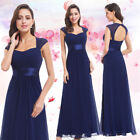 Ever-Pretty US Long Navy Blue Bridesmaid Dresses Cap Sleeve Backless Gowns 08834
