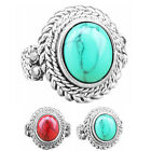 10 pcs Round Turquoise Rings Wholesale Lot Flower Antique Silver Plated Jewelry