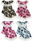 Girls Crochet Lace Fringe Trim Gypsy Army Camo Top & Shorts Set 3 to 14 Years