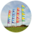 FESTIVAL PENDANT BANNER KIT 3.4M - COMPLETE WITH FLAG POLE AND GROUND STAKE