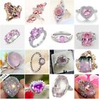 Women 925 Silver Pink Sapphire Gemstone Ring Wedding Engagement Party Size 6-10 image