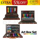 Wooden Art Box Set Pastel Water Crayon Colouring Painting Drawing