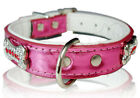 Silver Pink Black Metallic Leather Dog collar Small Medium Large XS S M L