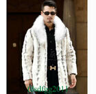 Luxury Mens 100% Real Mink Fur Jacket Coat Fur Collar Outwear Winter New Fashion