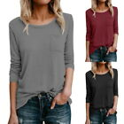 Fashion Ladies O-neck Long Sleeve Cotton Casual Loose Blouse Pockets Solid Tops