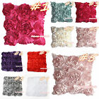 Romantic Solid 3D Rose Raise Ribbon Home Deco Sofa Bed Cushion Cover Pillow Case