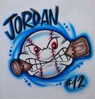 Baseball Biting Bat Airbrush Shirt - Name Included
