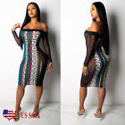 US Women Long Sleeve Sexy Off Shoulder Club Dress Bodycon Party Cocktail Wear