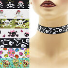 Skulls Choker 7/8 inch Custom Necklace 22 mm 23 mm Halloween Crossbones Sugar +
