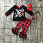USA Christmas Toddler Kids Baby Girls Xmas Top Plaid Pants Casual Outfit Clothes