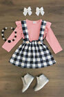 Newborn Toddler Baby Girl Stripe Floral Top Romper Skirt Dress Outfit Clothes US