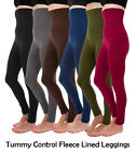 Womens Brushed Fleece Lined High Waist Workout Compression Leggings Plus Size