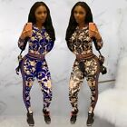 Women tracksuit Cropped zipper Jacket Top+pencil Pant Fitness floral print F8139