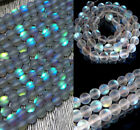 Natural 6-12mm White / Gray Gleamy Rainbow Moonstone Round Loose Beads 15'' Aaa