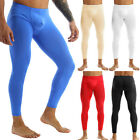 Mens Thin Silky Low Rise Bulge Pouch Long Johns Thermal Pants Underwear Legging