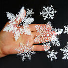 19 Reusable White Christmas Snowflake Window Clings Stickers Winter Decorations