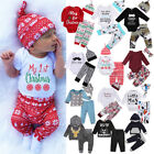US Stock Christmas Toddler Baby Boys Girls Romper T-shirt Long Pants Outfits Set