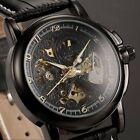 Official KS Mens Leather Army Sport Automatic Mechanical Skeleton Wrist Watch