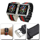 Gucci Stripe Pattern Nylon Leather Watch Band Strap for Apple iWatch 1/2/3/4 image