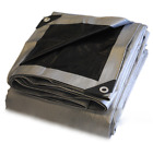 Heavy Duty Poly Tarp - Silver/Black Top Grade -10.5 mil - 14x14 weave-Waterproof