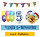 Happy 5th Birthday AGE 5 Party Balloons Banners Badges & Decorations Helium BOY