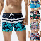 Men's Beach Swimming Surf Board Shorts Summer Stripped Trunks with Pockets Lined
