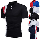 USA Men's Slim Fit POLO Shirts Solid Short Sleeve Casual T-shirt Golf Tee Tops image