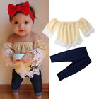 Внешний вид - Fashion Kid Baby Girl Outfit Off Shoulder T-shirt Tops+Long Pants Cotton Clothes