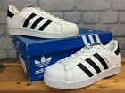 ADIDAS SUPERSTAR MENS WHITE BLACK TRAINERS GOLD TONGUE VARIOUS SIZES