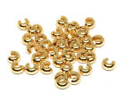 gold plated brass crimp bead covers 4mm smooth