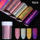 10 Pcs Holographic Nail Foil Set Transparent AB Color Nail Art Transfer Sticker
