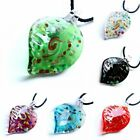Fashion Leaf Lampwork Glass Women Colourful Pendant Necklace Rope Chain Jewelry