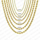 "Real 10K Yellow Gold 2mm to 7mm Diamond Cut Rope Chain Pendant Necklace 14""- 30"" image"