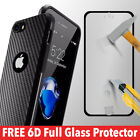 Case For iPhone 7 8 6s 5s Plus Silicone Carbon Fiber TPU Phone Cover