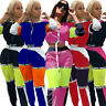 Women Color Block Pathcwork Zipper Bomber Jacket Coat Casual Sport Tracksui 2pc