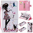 Girl Cat Flower PU Leather Wallet Case Flip Cover Stand Card Slot For All Phones