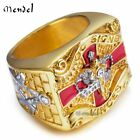 MENDEL Mens Freemason 14k Gold Plated Masonic Ring Knights Templar Mason Diamond