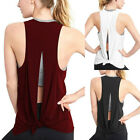 Sexy Women Open Back Sport Sleeveless Solid Yoga Shirts Tie Workout Tank Tops