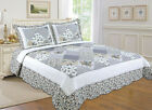 ALL FOR YOU Reversible Bedspread, Coverlet,Quilt  *105* Gray patchwork prints image