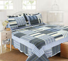 ALL FOR YOU Reversible Bedspread, Coverlet,Quilt *71* Blue Grey striples image
