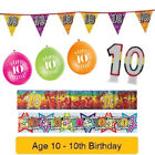 Age 10 - Happy 10th Birthday Party Balloons Banners & Decorations