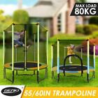 "Genki 55""/60"" Round Kids Mini Trampoline Indoor Outdoor Rebounder Gym Safety"