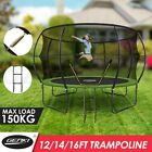 Genki 12/14/16ft Kids Round Trampoline Exercise Rebounder w/Safety Enclosure Net