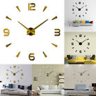 3D Large Wall Clock Watch Decal Stickers Roman Numerals Modern Home DIY Decor