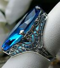 13ct Marquise Swiss-Topaz Deco Filigree Sterling Silver Ring Made To Order