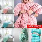 Sofa Chunky Knit Blanket Handmade Thick Line Bulky Knitted Throw Warm Home US image