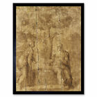 Ascribed To Michelangelo Christ And The Woman Of Samaria Art Print Framed 12x16