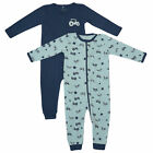 2er Set Name It NIGHTSUIT mit Zip blau Schlafanzug Kinder Baby Jungen Strampler