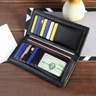 USA Men's Luxury Leather Bifold Long Wallet Purse Clutch ID Credit Card Holder image
