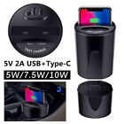 3in1 10W Qi Wireless Charger Car Charger Cup Holder Stand Fast Charging With USB